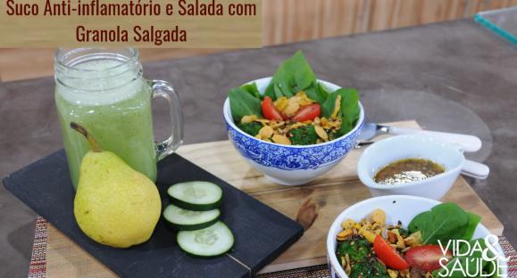 Receita: Suco Anti-Inflamatório e Salada com Granola Salgada