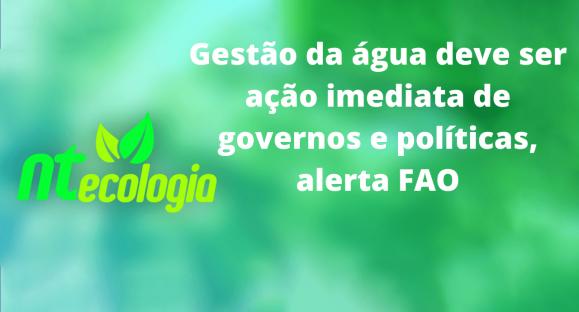 Gestão da água deve ser ação imediata de governos e políticas, alerta FAO
